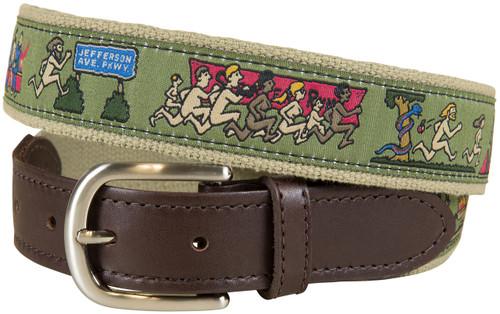History of Streaking Leather Tab Belt