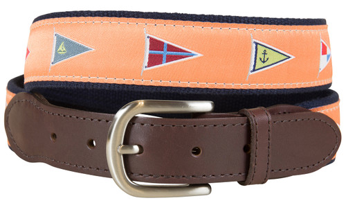 Burgees Leather Tab Belt | Melon