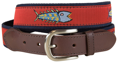 Red Hopkins Fish Leather Tab Belt
