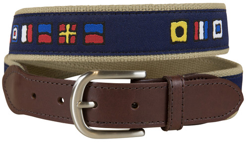 Navy It's 5 O'Clock Somewhere Leather Tab Belt