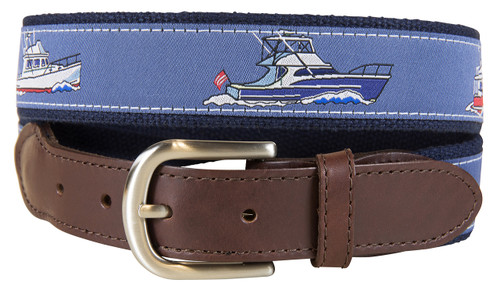 Powerboats Leather Tab Belt
