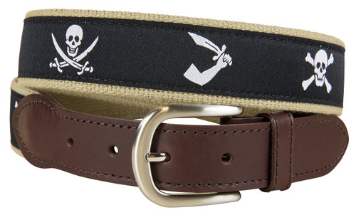 Midnight Pirate Flags Leather Tab Belt