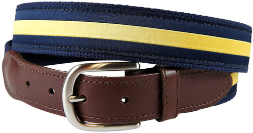 Classic Yellow Stripe Leather Tab Belt
