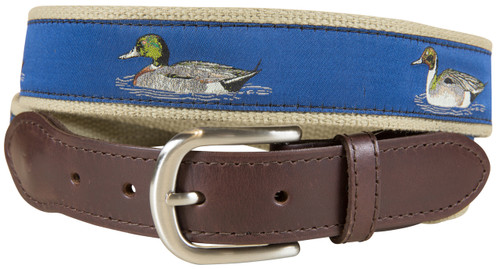 Ducks Leather Tab Belt - Blue