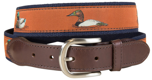 Ducks Leather Tab Belt - Burnt Sienna