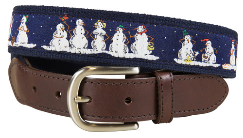 Naughty Snowmen Leather Tab Belt