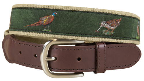 Woodland Birds Leather Tab Belt - Loden