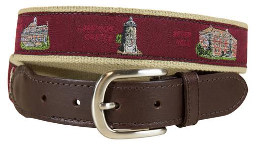 Harvard View from the Green Leather Tab Belt