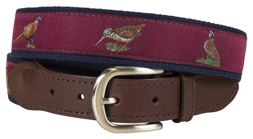 Woodland Birds Leather Tab Belt | Burgundy