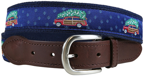 Woodie & Tree Leather Tab Belt