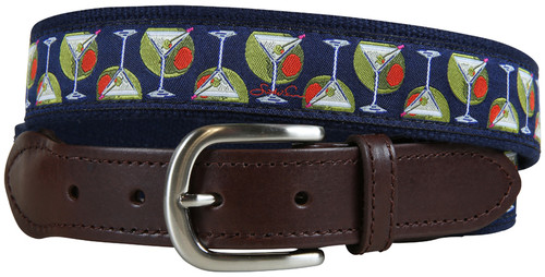 Martinis & Olives Leather Tab Belt