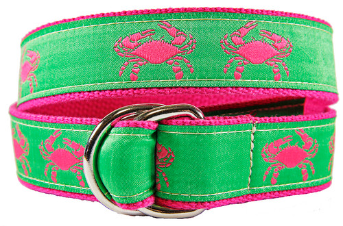 Crab (pink & green) D-ring Belt