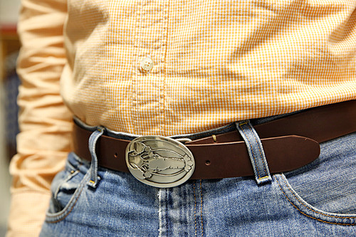 Sterling Silver Lobster Buckle & Hand Sewn Leather Belt