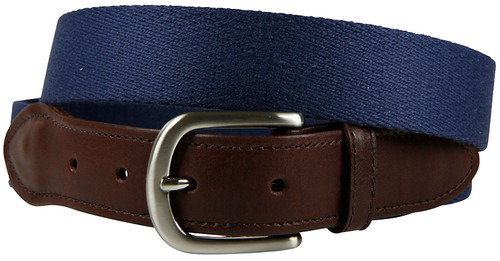 Navy Surcingle Leather Tab Belt