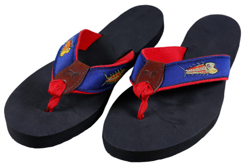 Hopkins Fish Flip Flops | Navy