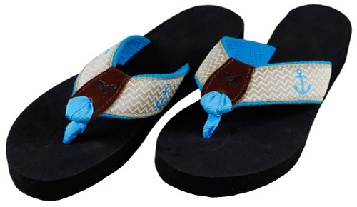 Ahoy Anchor Flip Flops   Tan