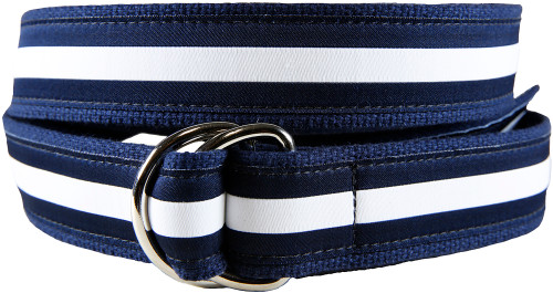 Classic Stripe D-ring Belt - White & Navy