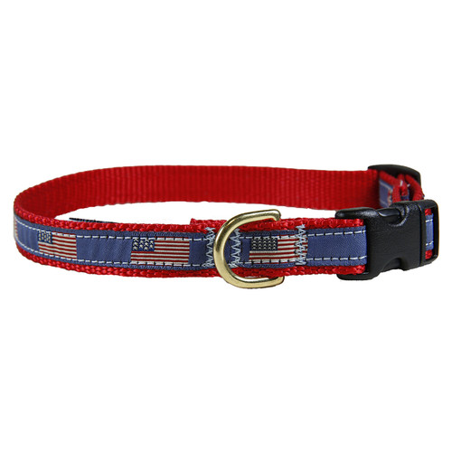 "Historical American Flags 5/8"" Dog Collar"