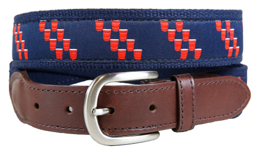 Red Cup Rep Stripe Leather Tab Belt