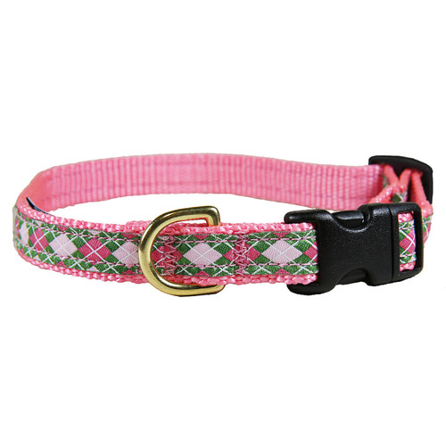 "Green & Pink Argyle 5/8"" Dog Collar"