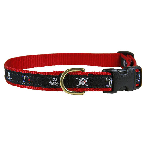 "Midnight Pirate Flags 5/8"" Dog Collar"