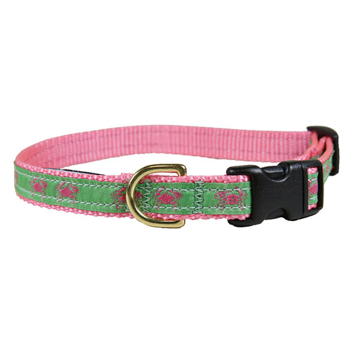 "Pink & Green Belted Crab  5/8"" Dog Collar"