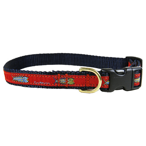 "Red Hopkins Fish 5/8"" Dog Collar"