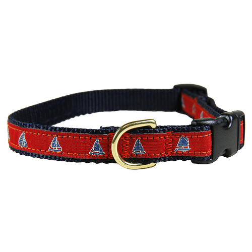 "Red One Design Sailboats 5/8"" Dog Collar"