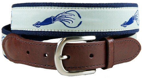 Squid Leather Tab Belt
