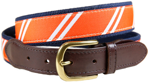 Rep Stripe (orange & white) leather tab belt