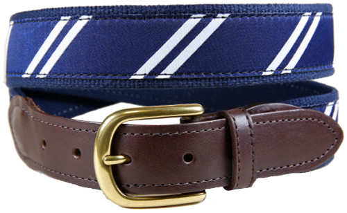 Rep Stripe (navy & white) leather tab belt