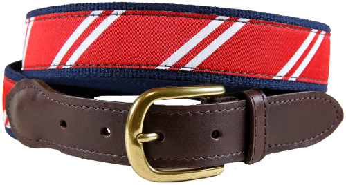 Rep Stripe (red & white) leather tab belt