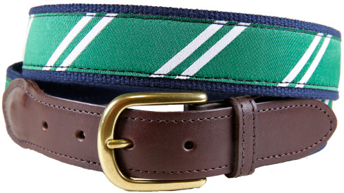 Rep Stripe (green & white) leather tab belt