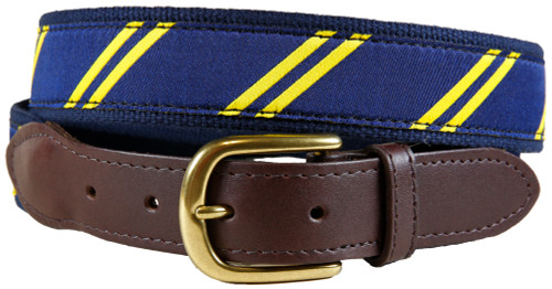 Rep Stripe (navy & yellow) leather tab belt