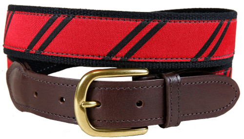 Rep Stripe leather tab belt (red & black)