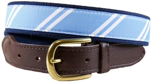 Rep Stripe (light  blue & white) leather tab belt