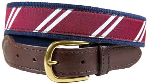 Rep Stripe (maroon & white) leather tab belt