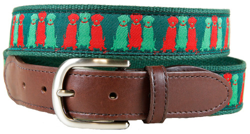 Three Wise Labs (green) leather tab belt