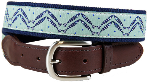 Herring Bone Fish Leather Tab Belt