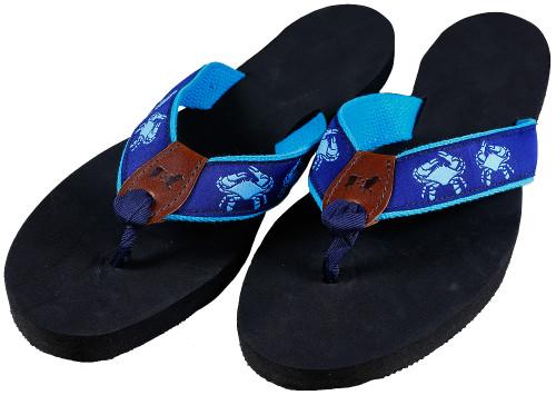 Belted Crab Flip Flops | Blue & Navy