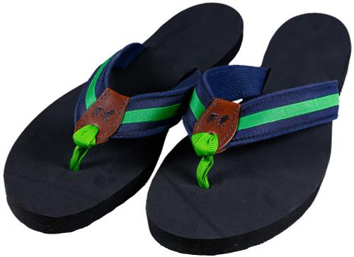 Classic Green Stripe Flip Flops