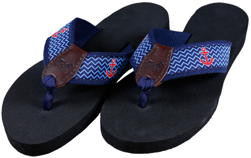 Ahoy Anchor Flip Flops | Navy