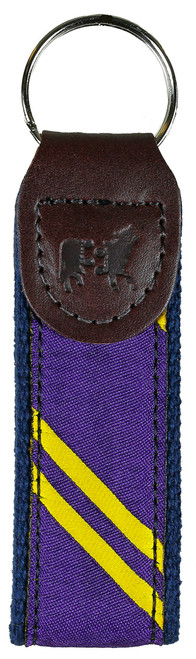 Collegiate Stripe Key Fob | Purple & Yellow