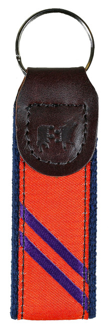 Collegiate Stripe Key Fob | Orange & Purple