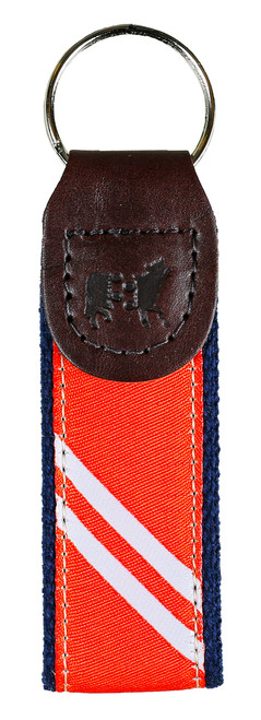 Collegiate Stripe Key Fob | Orange & White