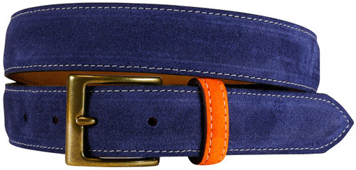 East Hampton Collection Navy Suede Belt With Orange Keeper