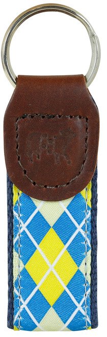 Argyle Key Fob | Blue & Yellow