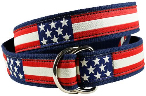 Retro Flag D-ring Belt