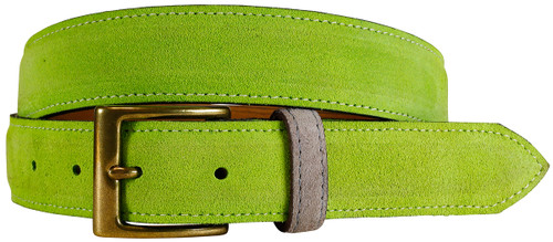 East Hampton Collection Lime Suede Belt With Grey Keeper