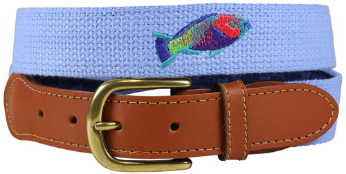 Bermuda Embroidered Belt | Parrot Fish